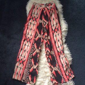 Aztec split pants wide leg w/ built in shorts szS